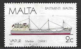 MALTE    -   1987 .   Y&T N° 756 Oblitéré.   Bateau - Malta