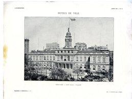 NEW YORK  CITY HALL  FACADE  -  HOTELS DE VILLE  -  PLANCHE ISSUE DE LA REVUE L ARCHITECTURE 1913 - Architecture