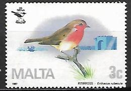 MALTE    -   1987 .   Y&T N° 743 Oblitéré.    Oiseau  /  Rouge Gorge - Malta