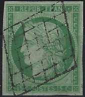 France 1849 - 1850 Céres N°2b, 15 C Vert  Jaune Oblitéré Grille Tres Légère Superbe ! Signé Brun - 1849-1850 Cérès