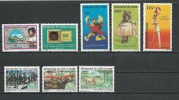 COTE IVOIRE Scott 668, 679, 683-685, 694-696 Yvert 648, 659, 663-665, 667-669 (8) ** Dent Cote 11,60 $ 1983 - Côte D'Ivoire (1960-...)