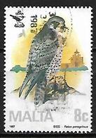 MALTE    -   1987 .   Y&T N° 744 Oblitéré.    Oiseau  /  Faucon Pélerin - Malte
