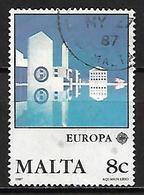 MALTE    -   1987 .   Y&T N° 747 Oblitéré.   EUROPA.   Architecture  /  Aquasun Lido. - Malte