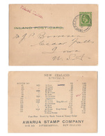 New Zealand 1924 1/2d George V Inland Postal Card To US Advert Awarua Stamp Co - 1907-1947 Dominion