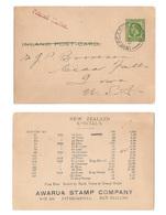 New Zealand 1924 1/2d George V Inland Postal Card To US Advert Awarua Stamp Co - Storia Postale