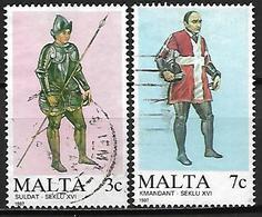 MALTE    -   1987 .   Y&T N° 749 / 750 Oblitérés.   Uniformes Militaires De L' Ordre De Malte. - Malta
