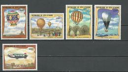 COTE IVOIRE Scott C71-C75 Yvert PA77-PA81 (5) ** Cote 15,25 $ 1983 - Côte D'Ivoire (1960-...)