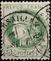 FRANCE Y&T N°53k Cérès 5c Vert-vif Sur Azuré. Oblitéré CàD - 1871-1875 Ceres