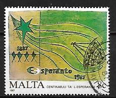 MALTE    -   1987 .   Y&T N° 754 Oblitéré .   Espéranto ,  étoile Et Symboles. - Malta