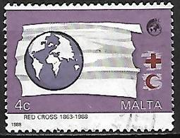 MALTE    -   1988 .   Y&T N° 775 Oblitéré  .  Croix-Rouge - Malte