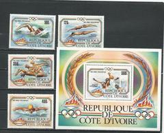 COTE IVOIRE Scott C76-C79 C80 Yvert PA82-PA85 BF25 (4+bloc) ** Cote 16,50 $ 1983 - Côte D'Ivoire (1960-...)