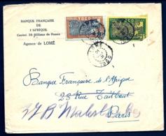 LETTRE DU TOGO - TIMBRAGE A 75 Ct- 2 TIMBRES AVEC CAD DE LOMÉ 1951-  EN-TÊTE BANQUE - Togo (1960-...)