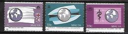 MALTE    -   1988 .   Y&T N° 775 à 777 (*) .  Croix-Rouge, OMS.    Série Complète. - Malta