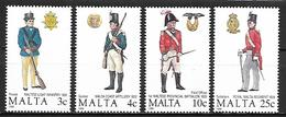 MALTE    -   1988 .   Y&T N° 778 à 781 (*) .  Uniformes Militaires.   Série Complète. - Malta