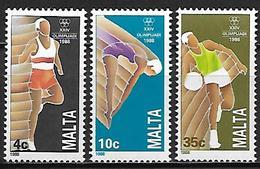 MALTE    -   1988 .   Y&T N° 782 à 784 **.  Course à Pied / Plongeon / Basket-ball.   Série Complète. - Malte