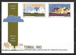 MALTE    -   1983 .   Carte Postale Neuve **.  EUROPA.   Expo Internationale De Philatélie Thématique. - Malte