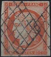 1849 - 1850 Céres N°5c 40c Orange Fonçé Oblitéré Grille, Superbe !! Signé Calves - 1849-1850 Ceres