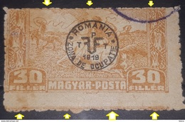 ERROR TRANSYLVANIA  ROMANIA  1919  Occupation Zona, Misplaced Perdoration  Image,30 Filler, Used - Transylvanie