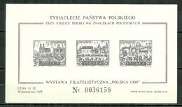 POLAND MNH ** Bloc RARE Impression En Noir Non Catalogué Dans Yvert, GNIEZNO CRACOVIE VARSOVIE - Blocs & Feuillets