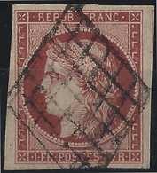 1849 - 1850 Céres N°6 1fr Carmin Fonçé Oblitéré Grille, Belles Marges, Très Frais Signé Calves - 1849-1850 Ceres