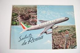 SALUTI DA ROMA  ALITALIA    AEREO AIRPLANE  POSTCARD USED  CONDITION PHOTO - Transports