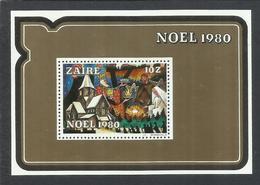 ZAIRE CONGO 1980 CHRISTMAS NOEL WEIHNACHTEN NATALE NAVIDAD BLOCK SHEET BLOCCO FOGLIETTO MNH - Zaire
