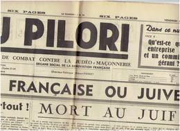 AU PILORI Du 14 Mars 1941 Propagande Anti Juive - Newspapers