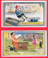 Lot De 2 CHROMOS - Ets AU PLANTEUR De CAÏFFA - Les Conserves De Ménage - N° 13 Et N° 14 -2 SCANS - Autres