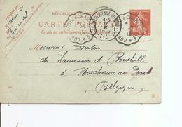 """France - Convoyeurs  ( CP De 1913 En Convoyeur -Cachet Oblitérant """"convoyé à Charleville"""" - Vers La Belgique à Voir) - France"""