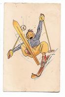 Signée  Seiler  -    Skier  Qui  Tombe - Illustratori & Fotografie