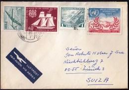 Chile Santiago 1971 / Airplane, Ship, Lord Cochrane, Laguna Del Inca, International Cooperation ( Hands) / Air Mail - Chili