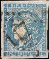 FRANCE Y&T N°46Ac Cérès 25c Bleu. Impression Fine. Oblitéré Losange GC N°117 - 1870 Bordeaux Printing