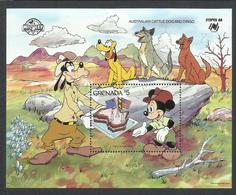 GRENADA 1988 WALT DISNEY AUSTRALIAN CATTLE DOG DINGO SYDPEX 86 BLOCK SHEET BLOCCO FOGLIETTO MNH - Grenada (1974-...)
