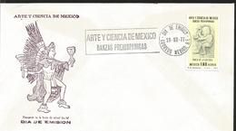 J) 1977 MEXICO, ART AND SCIENCE OF MEXICO, PREHISPANIC DANCES, DANCE OF THE CULEBRA, FDC - Mexique