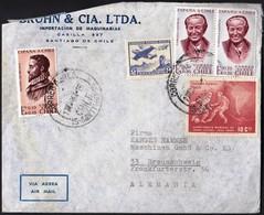 Chile Santiago 1964 / Football World Cup 1962, Airplane, Gabriela Mistral, Alonso De Arcilla / Bruhn & Cia. / Air Mail - Chili