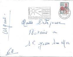 0.30F N°1331A Flamme NANTES GARE 5 1 1968 Journées D'études ESSEC école Sciences économie - 1962-65 Cock Of Decaris