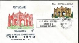 J) 1978 MEXICO, 450th ANNIVERSARY OF THE CITY FOUNDATION OF CHIAPAS DE CORZO, BLACK CANCELLATION, CHIAPAS, FUENTE MUDEJA - Mexique