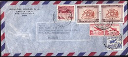 Chile Santiago 1964 / National Government, Coat Of Arms, Airplane / Quimicas Unidas / Air Mail - Chili