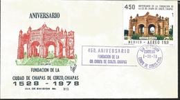 J) 1978 MEXICO, 450th ANNIVERSARY OF THE CITY FOUNDATION OF CHIAPAS DE CORZO, PURPLE CANCELLATION, CHIAPAS, FUENTE MUDEJ - Mexique