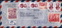 Chile Santiago / Football World Cup 1962, Gabriela Mistral, Airplane / Quimicas Unidas / Air Mail - Chile