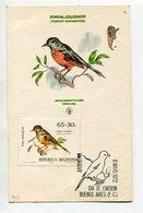 TARJETA FDC ZORZAL COLORADO OBLITERACION DIA DE EMISION 1972 BS. AS. ARGENTINA -LILHU - Birds