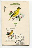 TARJETA FDC JILGUERO OBLITERACION DIA DE EMISION 1972 BS. AS. ARGENTINA -LILHU - Birds