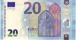 20 Euros 2015 Serie UA, U011H1, N° UA 7335212763,  Signature 3 Mario Draghi UNC - EURO