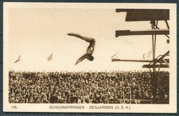 1928 Amsterdam Olympics Official Postcard 118. Desjardins USA Diver - Olympic Games