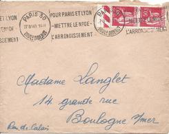 50c Rouge N°283 Paire Flamme PARIS 30  Pour Paris Et Lyon Mettre Le N° De L'arrondissement 21 4 1940  Tarif à 1.00F - 1932-39 Paz