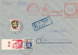 METZINGEN  - 1947 , R-Brief Freistempel Und Briefmarke - Nach Chemnitz , Geprüft Zierer - Zona Francese