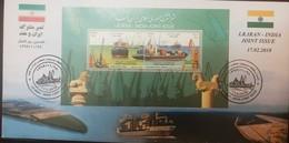 L) 2018 IRAN, JOINT EMISSION IRAN INDIA, INDUSTRY, BOAT, CONTAINER SHIP, DEENDAYA PORT- KANDLA, FLAG, FDC, S/S - Iran