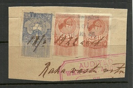 Estland Estonia 1919 Stempelmarke Documentary Tax 3 Stamps On Cover Out Cut O - Estonie