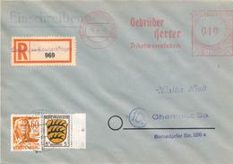 TAILFINGEN  - 1948 , R-Brief  Freistempel Und Briefmarke - Nach Chemnitz - Zona Francese