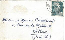 2F Vert N° 713 Sur Lettre Carte De Visite SEINE ET MARNE Date Illisible - 1945-54 Marianne De Gandon